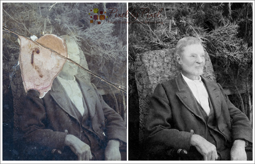 Before and after image of Ocean Chelman, digitally restored by Carol Heath, Pixel By Pixel