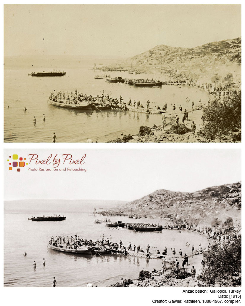 Photo restoration of images taken at Anzac Beach, Gallipoli, Turkey