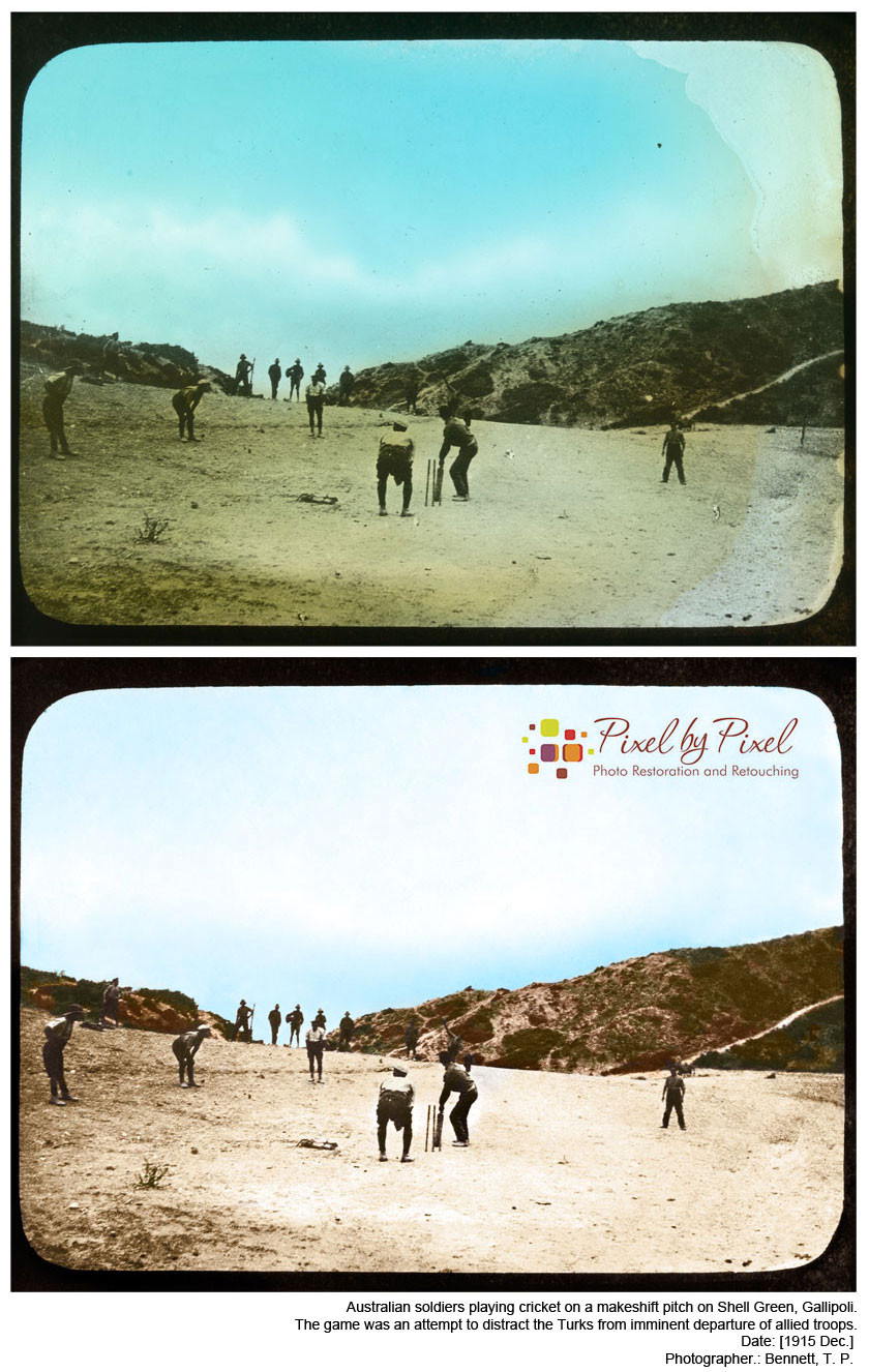 Soldiers playing cricket, Green Shell, Gallipoli, Turkey