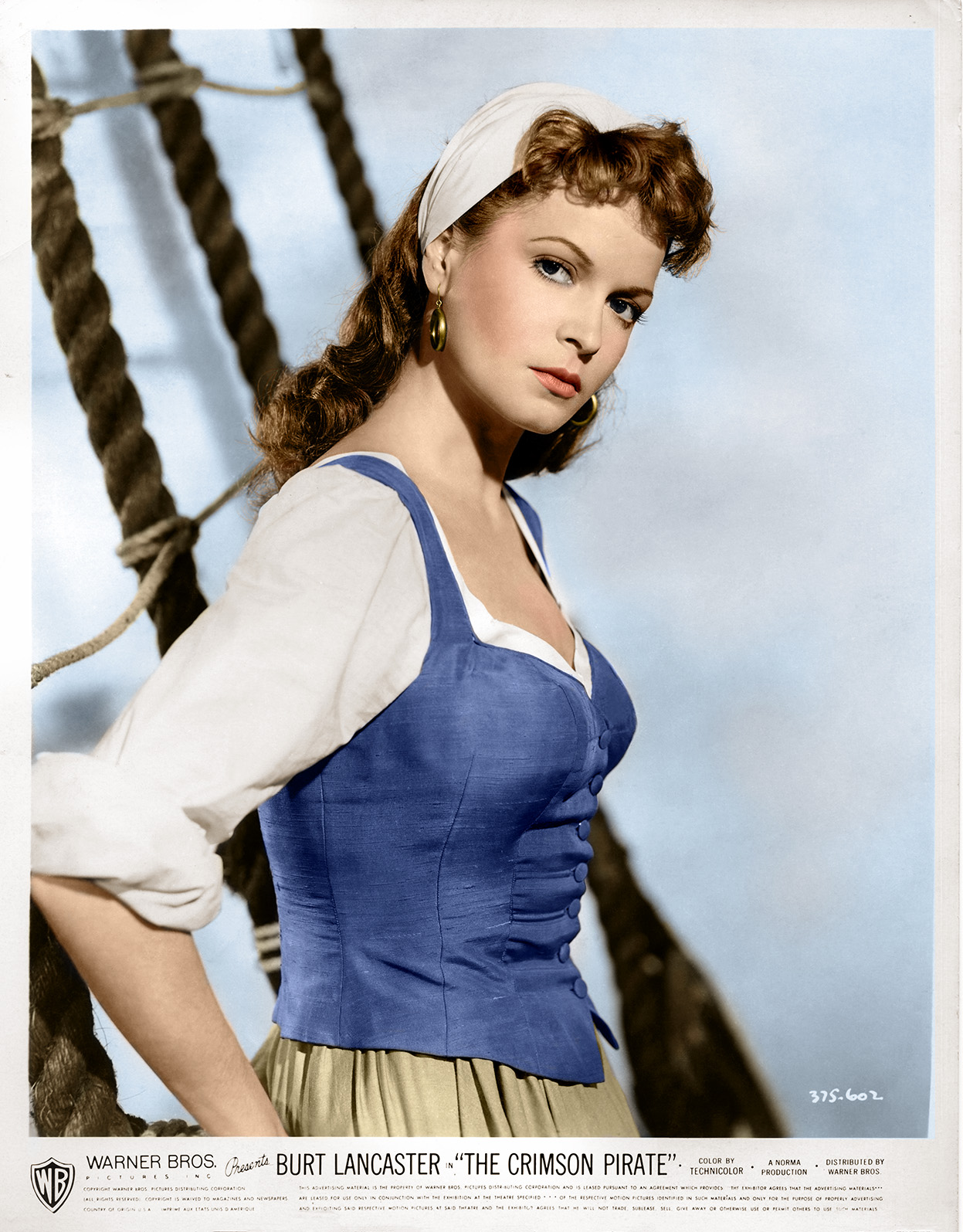 Lobby card from The Crimson Pirate, hand coloured using Photoshop CC 2020