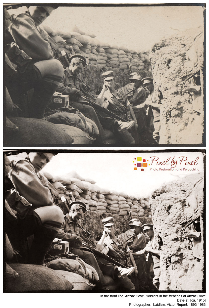 In the front line, Anzac Cove Views show Soldiers in the trenches at Anzac Cove. Date(s): [ca. 1915] Photographer: Laidlaw, Victor Rupert, 1893-1983.